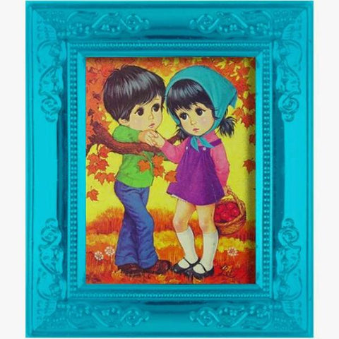 miniature picture frame 'lee big eye children' painting teal