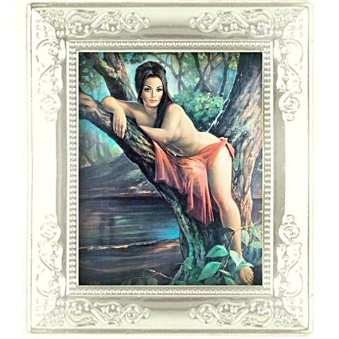 miniature picture frame 'j.h. lynch woodland goddess painting' white