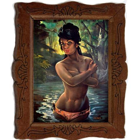 miniature picture frame 'j.h. lynch water nymph' painting
