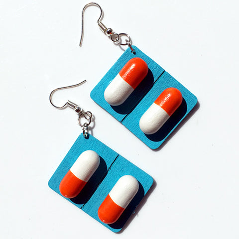 sugar earrings 'pill capsule' blue