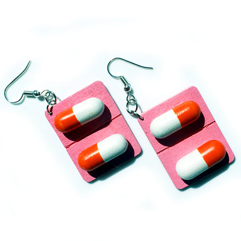 sugar earrings 'pill capsule' pink