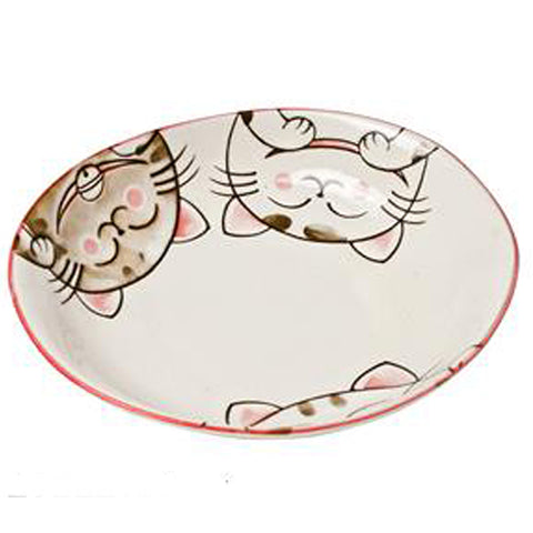 concept japan oval deep plate 'cat' pink