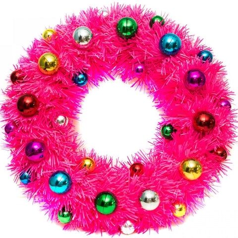 acorn & will christmas wreath 'kitsch pink'