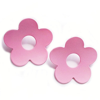 sugar earrings 'curved daisy' pink studs