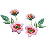 embroidered sew-on patch 'pink flowers' set