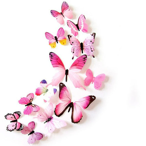 wall sticker '3D butterflies 12 pack' pink transparent