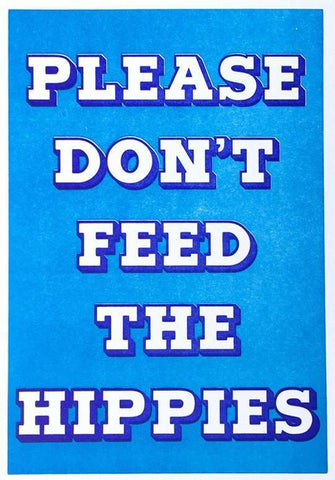 1973 greeting card please don't feed the hippies