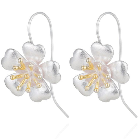 sugar earrings silver 'vintage plum blossom drop' with gold - the-tangerine-fox