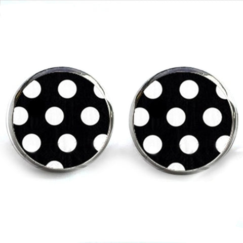 sugar earrings glass dome 'black & white polka dot' studs