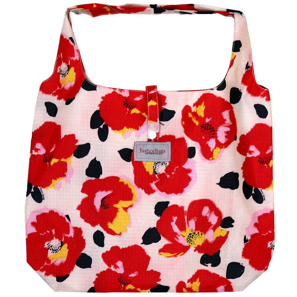 gifted hands shopping bag 'poppies' white