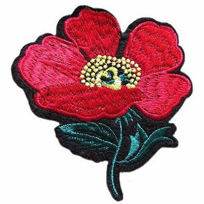 embroidered patch 'red poppy flower'
