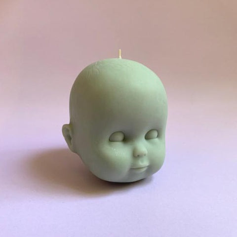 you, me & bones candle 'doll head' medium olive