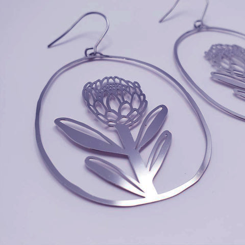 denz & co. earrings 'protea dangles' silver