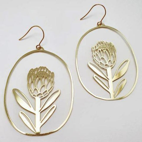 denz & co. earrings 'protea dangles' gold