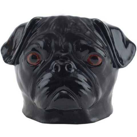 quail ceramics face egg cup 'pug' black