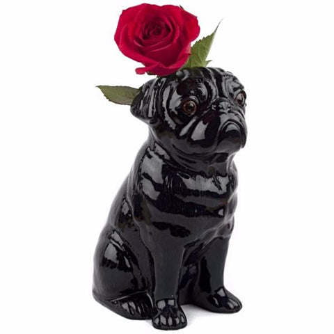 quail ceramics flower vase 'pug' black