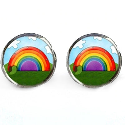 sugar earrings glass dome 'rainbows' studs