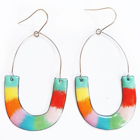 denz & co.. earrings 'upside dangles' rainbow stripe - the-tangerine-fox