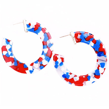 sugar earrings resin 'marbled medium wide hoops' navy, white & red