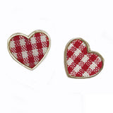 sugar earrings 'gingham heart' red
