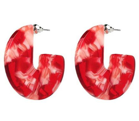 sugar earrings resin 'marbled circle' red tones