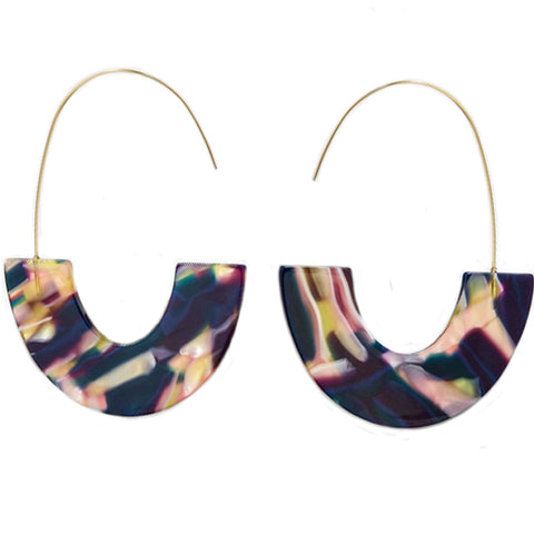 sugar earrings 'marbled resin u-drop' midnight & pink