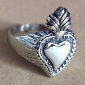 men's/unisex ring 'flaming heart' silver