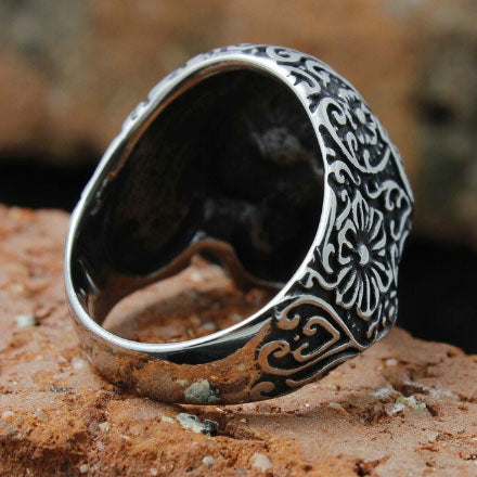 men's ring 'skull with hearts & flowers' silver
