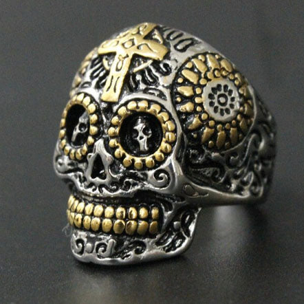 men's ring 'skull with gold cross' silver