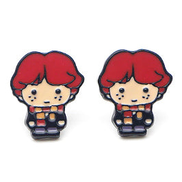 sugar earrings enamel 'ron weasley cartoon' studs - the-tangerine-fox