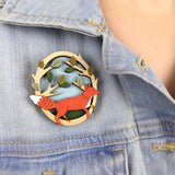 layla amber brooch 'running fox'