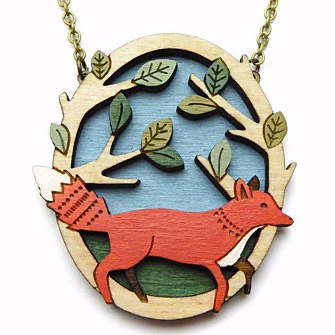 layla amber necklace 'running fox' - the-tangerine-fox