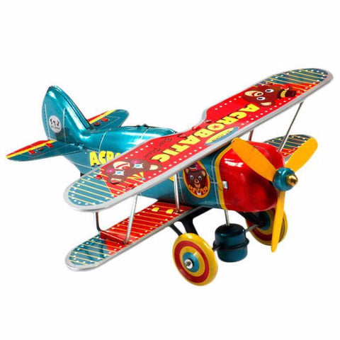 RETRO TIN TOY 'BEAR BI-PLANE'
