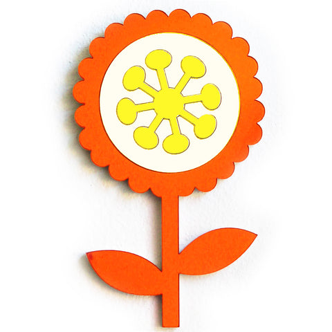 fox and the rox scandi flower mirror 'scalloped orange, silver & yellow' - the-tangerine-fox