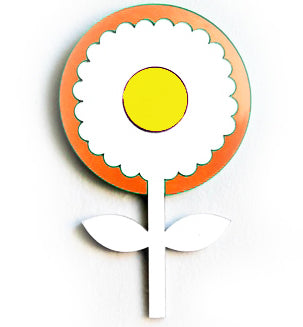 fox and the rox scandi flower mirror 'round orange, silver & yellow' - the-tangerine-fox