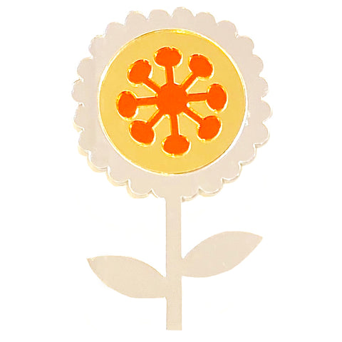 fox and the rox scandi flower mirror 'scalloped silver, gold & orange' - the-tangerine-fox