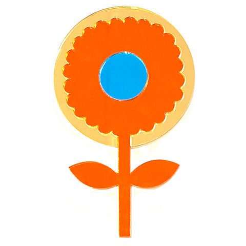 fox and the rox scandi flower mirror 'round gold, orange & aqua' - the-tangerine-fox