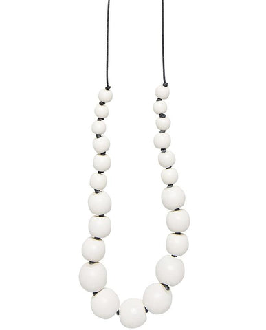elk necklace 'simple bead' white