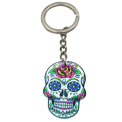 key ring 'acrylic sugar skull' rose design