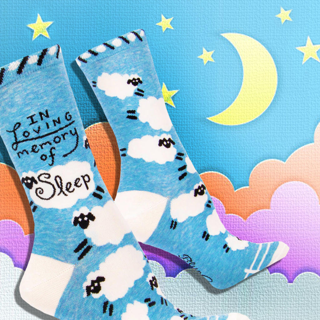 'in loving memory of sleep' crew socks