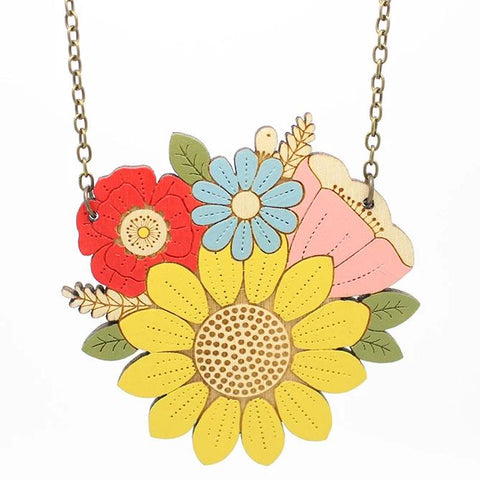 layla amber necklace 'sunflower posy'