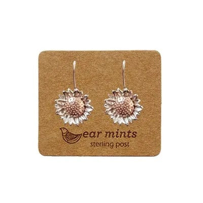 mints earrings '2 tone sunflower hook' silver & rose gold