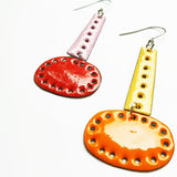 denz & co. earrings copper enamel 'sunset double dangles'