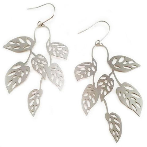 denz & co. earrings 'swiss cheese dangles' silver