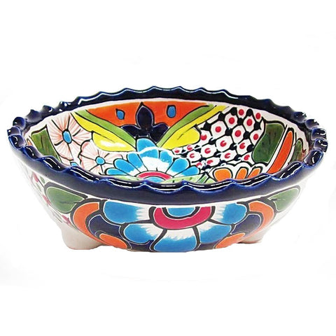 mexican talavera 'medium bowl on feet'