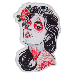sugar acrylic brooch 'day of the dead tattoed lady' - the-tangerine-fox