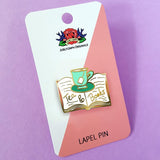 jubly-umph enamel pin 'tea & books' - the-tangerine-fox