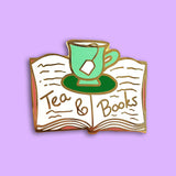 jubly-umph enamel pin tea and books