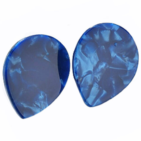 sugar earrings resin 'marbled teardrop studs' small blue