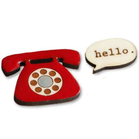 bok bok b'gerk brooch 'telephone hello' - the-tangerine-fox